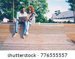 cheerful good looking best...   Shutterstock . vector #776555557