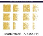 gold sequins texture. set brush ... | Shutterstock . vector #776555644