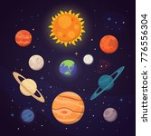 set of colorful bright planets. ... | Shutterstock .eps vector #776556304