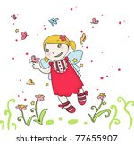 cute fling fairy with... | Shutterstock . vector #77655907