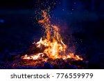 burning wood at night. campfire ... | Shutterstock . vector #776559979