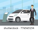 Stock vector sale of a new car cartoon seller at the car showroom shows the vehicle flat vector illustration 776565154
