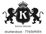 crest with shield and two lions ... | Shutterstock .eps vector #776569054