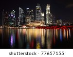 Singapore city night view with reflection