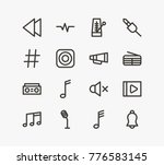 audio icon line set with... | Shutterstock .eps vector #776583145