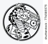 tyrannosaurus rex with boombox... | Shutterstock .eps vector #776585575