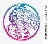 tyrannosaurus rex with boombox... | Shutterstock .eps vector #776585734