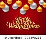 frohe weihnachten german merry... | Shutterstock . vector #776590291