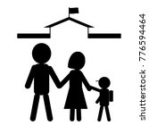 simple icon of family in black...
