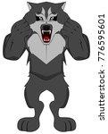 healthy grey werewolf | Shutterstock .eps vector #776595601