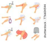 set of hands hygiene color flat ... | Shutterstock .eps vector #776604544