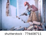 worker with demolition hammer... | Shutterstock . vector #776608711