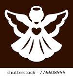 laser cutting christmas angel... | Shutterstock .eps vector #776608999