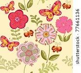 summer floral seamless pattern | Shutterstock .eps vector #77661136
