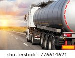 big gas tank goes on highway... | Shutterstock . vector #776614621