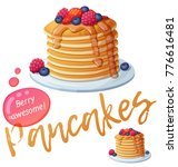 pancakes with berries and honey ... | Shutterstock .eps vector #776616481