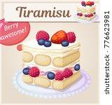 triple berry tiramisu dessert... | Shutterstock .eps vector #776623981