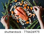 food blogger making seafood... | Shutterstock . vector #776626975