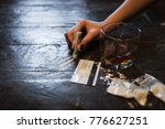 cocaine and alcohol drink on... | Shutterstock . vector #776627251