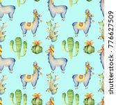 watercolor llama  alpaca and... | Shutterstock . vector #776627509