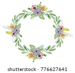 watercolor floral wreaths hand... | Shutterstock . vector #776627641
