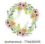 watercolor floral wreaths hand... | Shutterstock . vector #776630245
