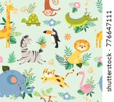 seamless pattern with cute wild ... | Shutterstock .eps vector #776647111