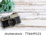 office desk wooden table with... | Shutterstock . vector #776649121