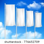four white blank pole flags set ... | Shutterstock . vector #776652709