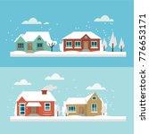 vector house set    winter theme   Shutterstock .eps vector #776653171