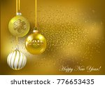 christmas gold balls with... | Shutterstock .eps vector #776653435