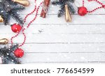 new year's background. spruce...   Shutterstock . vector #776654599