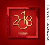happy new year 2018 red... | Shutterstock .eps vector #776656411