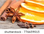 dry slices of orange with... | Shutterstock . vector #776659015