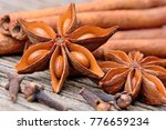 different spices on rustic... | Shutterstock . vector #776659234