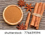 bowl with cinnamon powder and... | Shutterstock . vector #776659594
