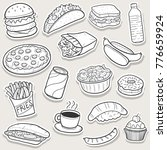 fast food traditional doodle... | Shutterstock .eps vector #776659924
