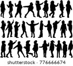 childrens black silhouettes. | Shutterstock .eps vector #776666674