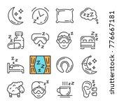vector black line sleep icons...