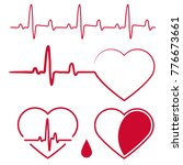 heart shape with cardiogram... | Shutterstock .eps vector #776673661