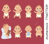 Set with cute little baby in diaper with different emotions. Various face expressions. Happy child, baby cry, hold teddy bear, sleeping child, sad boy, crying boy, screaming baby. Colorful vector.   Shutterstock vector #776677339