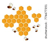 Icon Bee Honeycomb. Hexagon...