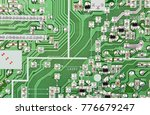 close up of printed green... | Shutterstock . vector #776679247
