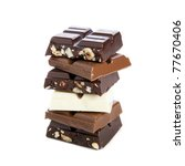 pile of chocolate bars isolated ... | Shutterstock . vector #77670406