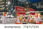 inner city road closed by... | Shutterstock . vector #776717224