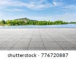empty square floor and green...   Shutterstock . vector #776720887