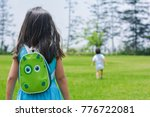 little latin girl with backpack ... | Shutterstock . vector #776722081