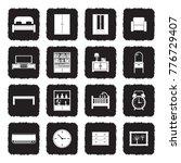 bedroom icons. grunge black...   Shutterstock .eps vector #776729407