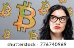 bitcoin with young... | Shutterstock . vector #776740969