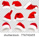 collection of red santa hats on ... | Shutterstock .eps vector #776742655
